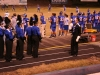 Marching band lining up on track